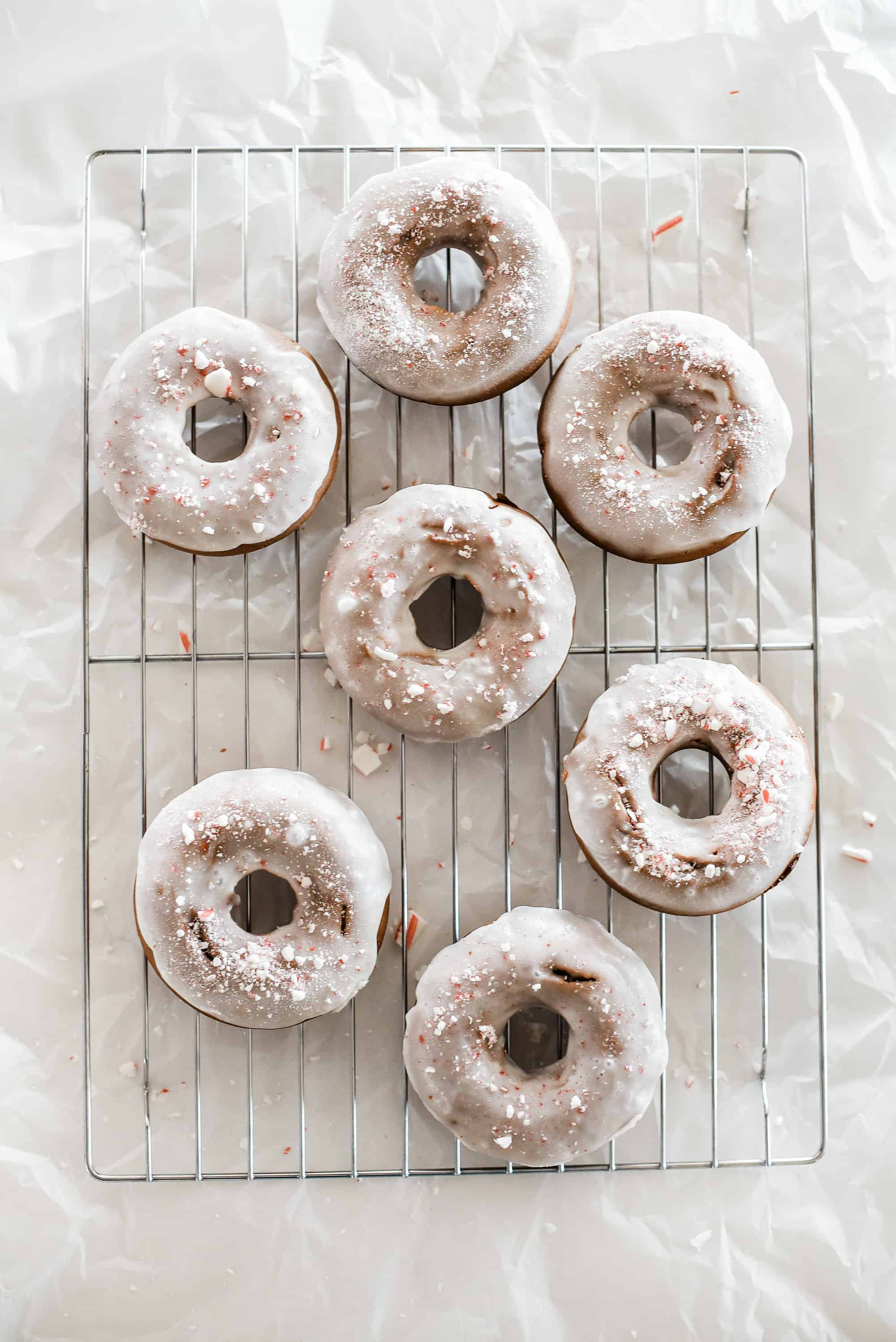 Best Christmas Desserts: Baked Peppermint Bark Christmas Donuts