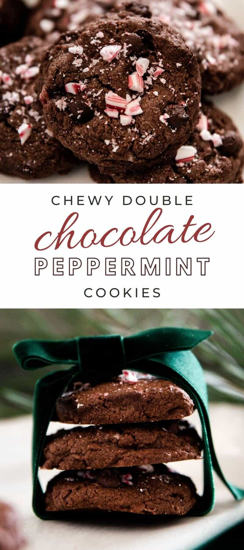 Chewy and delicious chocolate peppermint cookies are packed with cocoa powder, chocolate chips, peppermint extract, and crushed candy cane! There's a burst of Christmas flavor in every bite!