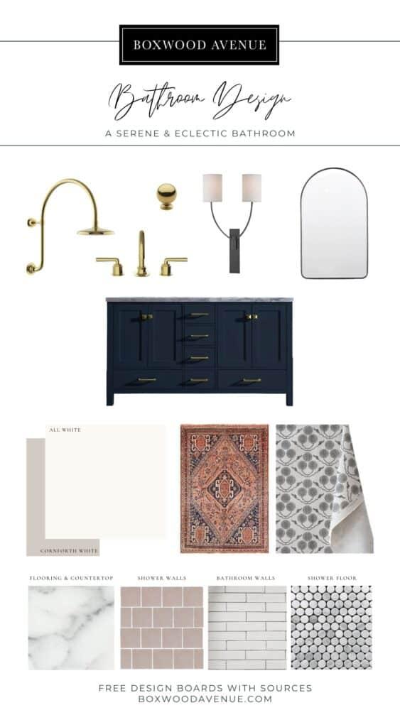 Design board for a serene bathroom design idea from Boxwood Avenue