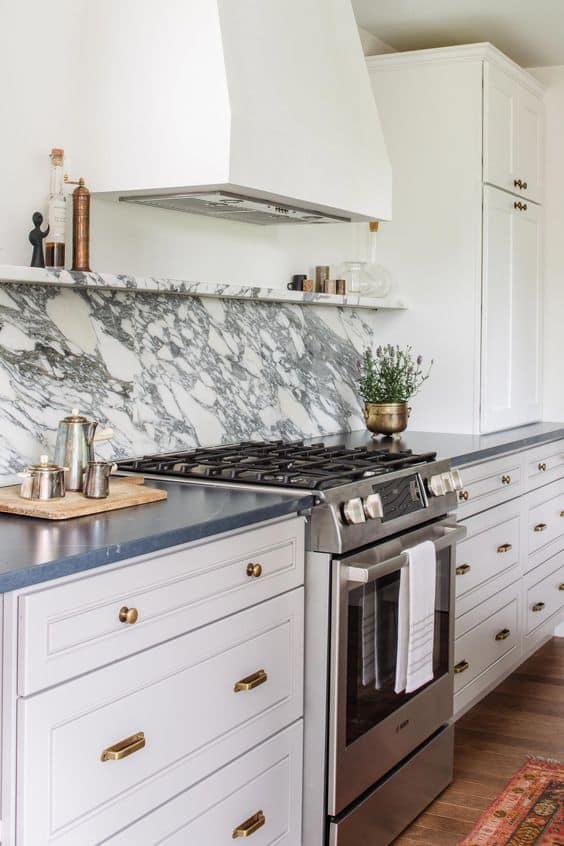 White Marble Kitchen Shelf Ledge