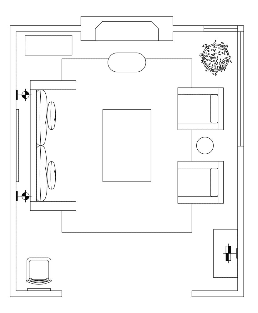 A floor plan with furniture shown