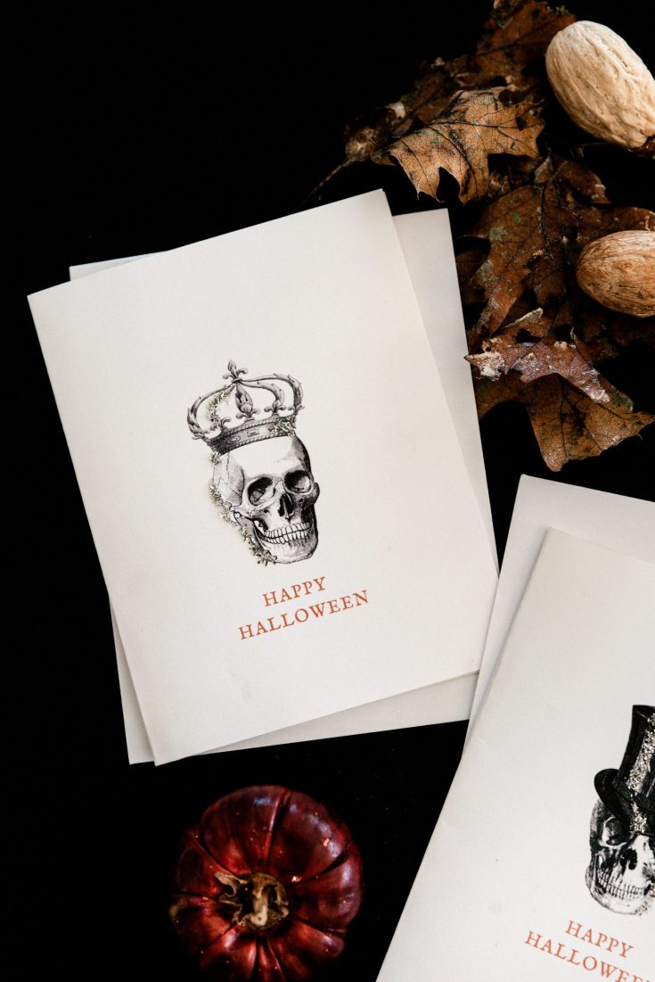 Halloween greeting card on black backdrop