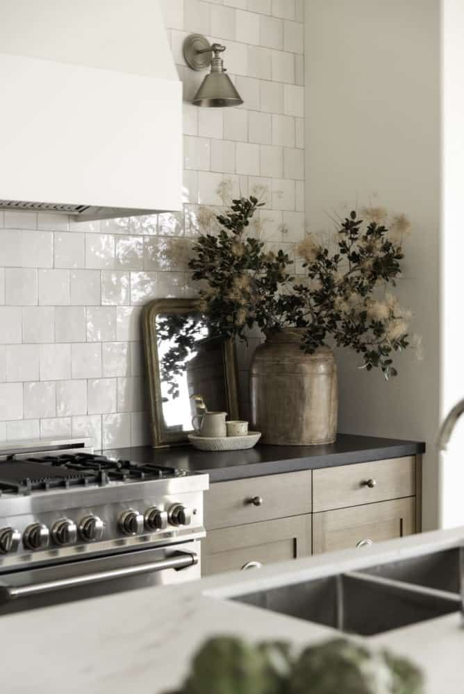 Dream kitchen design with white oak cabinets and white backsplash tile.
