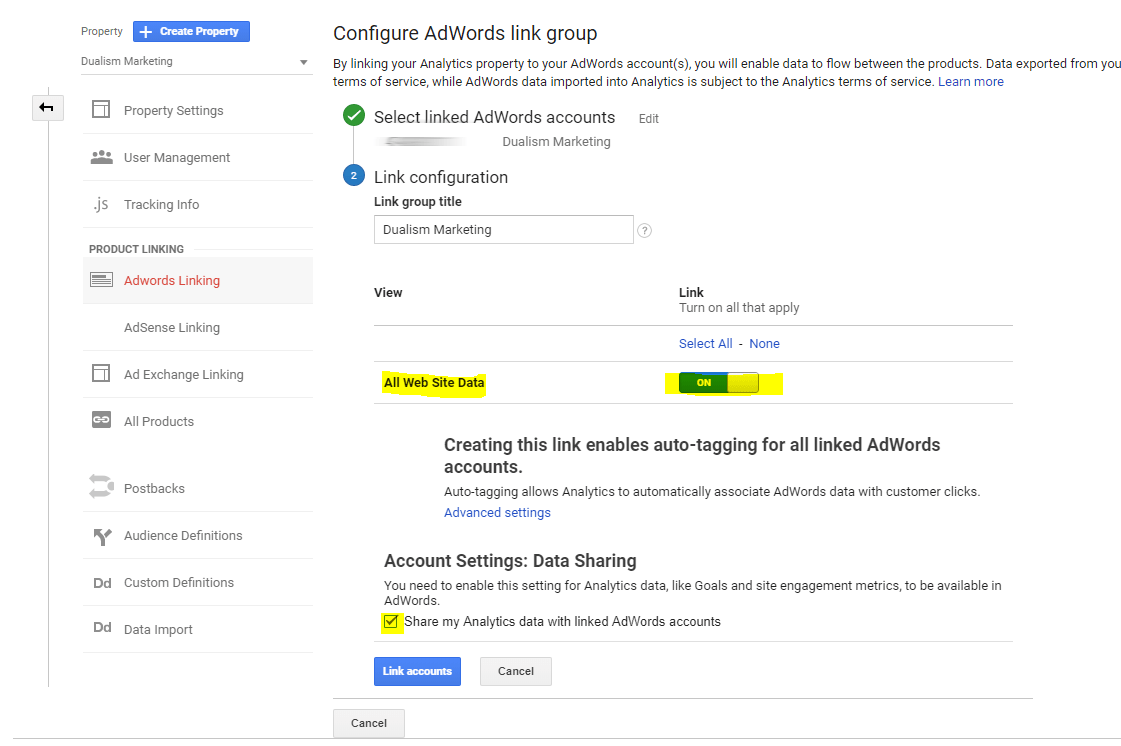 Link Google Adwords with Google Analytics 5