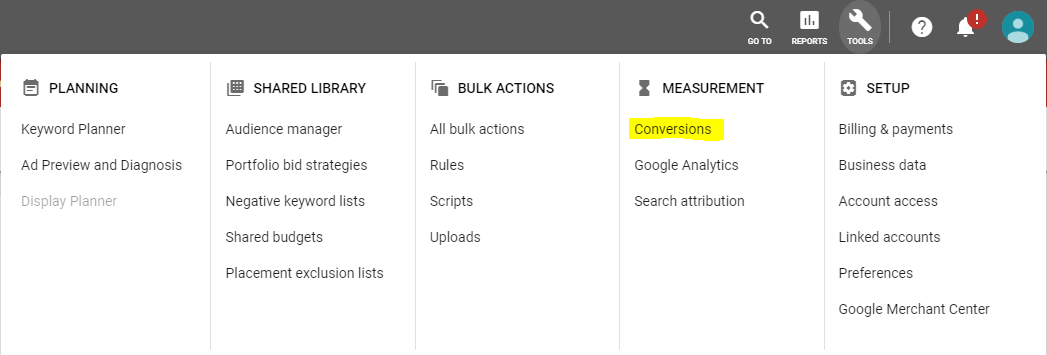 Link Google Adwords with Google Analytics importing goals