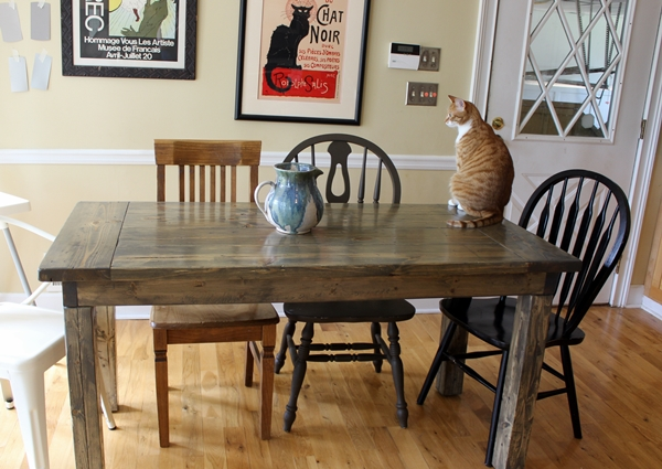 Diy small farmhouse table plans and tutorial for How to build a small kitchen table