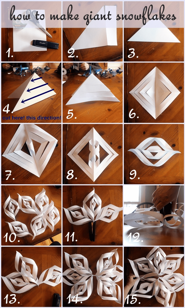 step by step giant paper snowflakes