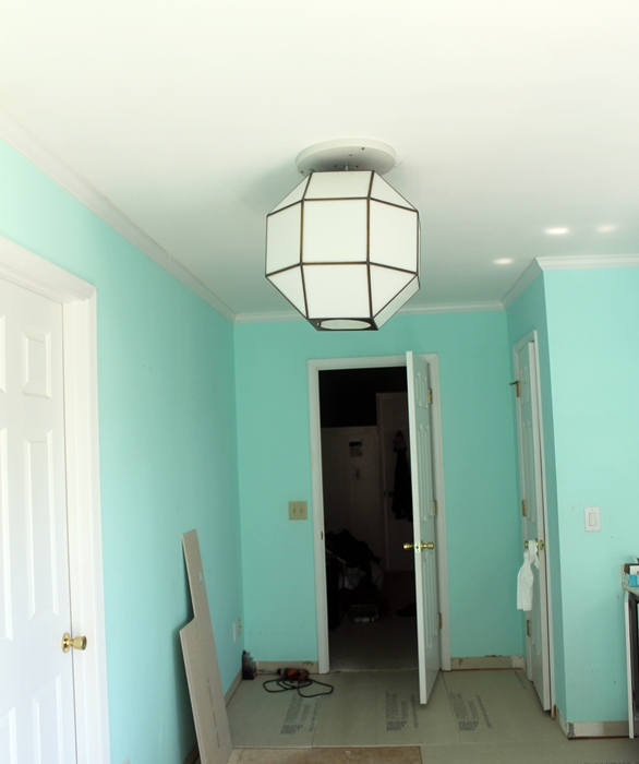 Where that giant light fixture ended up: more bathroom progress -