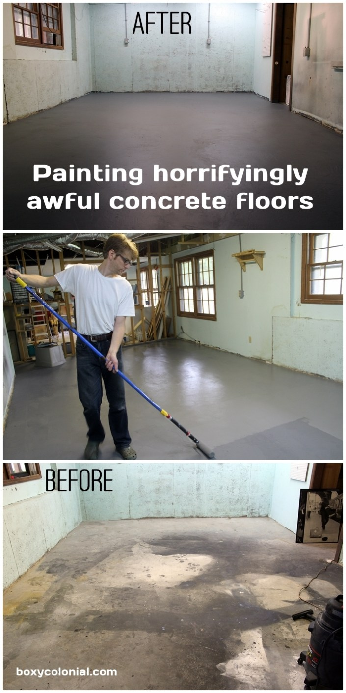 Undisgusting painted basement floor for Basement concrete cleaner