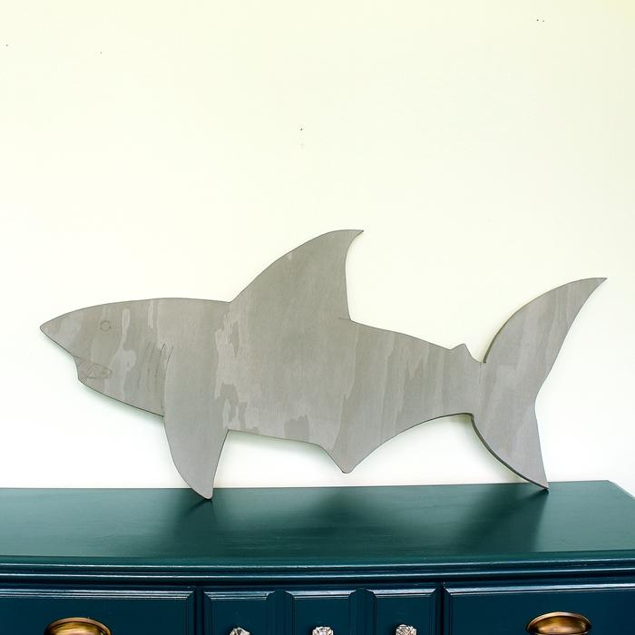 wooden shark with dremel detailing
