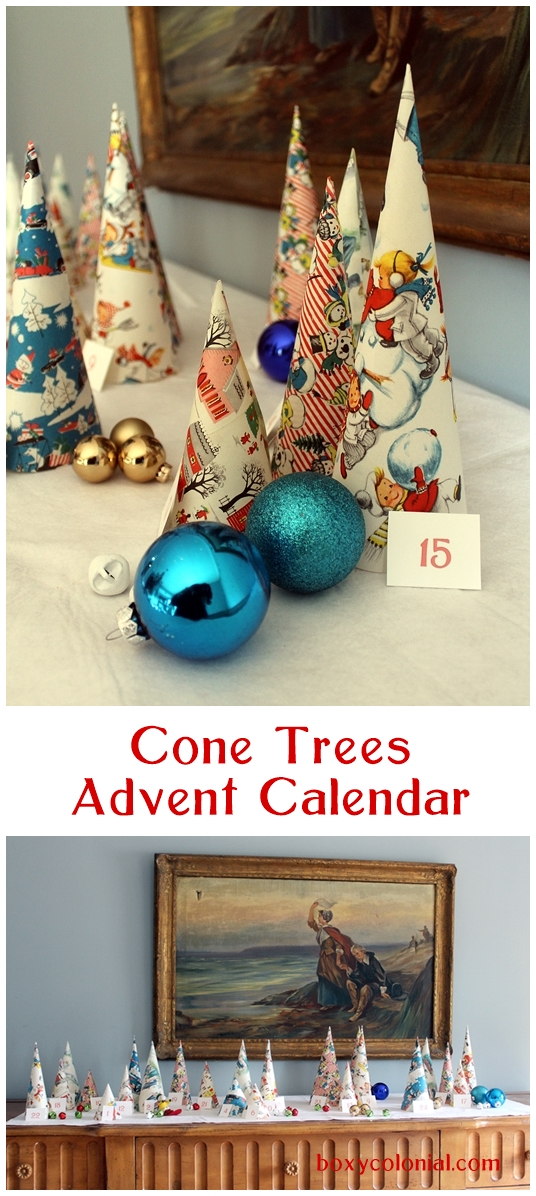 Cone Trees Advent Calendar made from vintage wrapping paper: hide a small surprise or Christmas activity idea under each one