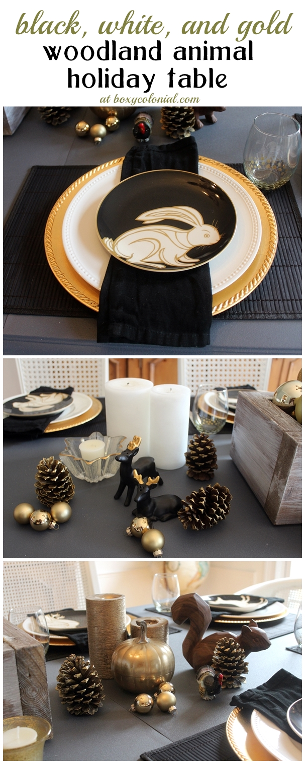 Christmas/Thanksgiving/Holiday table with black and gold woodland animals