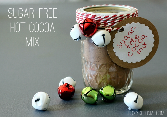 recipe for sugar free cocoa mix using erythritol and stevia. Great for holiday gifts!