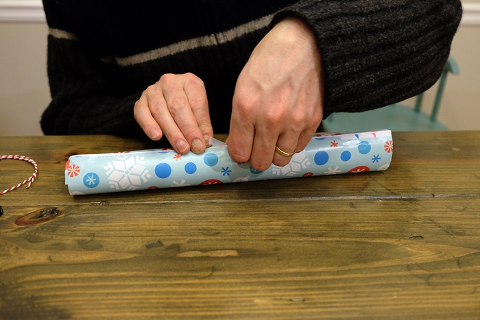 taping wrapping paper
