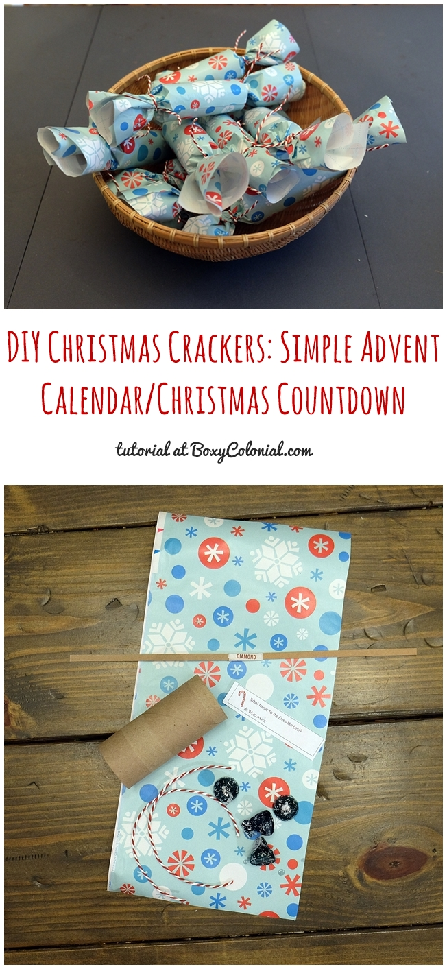 Tutorial to make these easy DIY Christmas crackers--great for a Christmas countdown or Advent Calendar