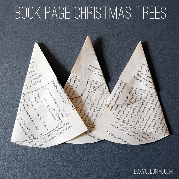Simple folded paper Christmas trees made from book pages