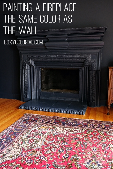 Painting walls and fireplace the same color: this is Benjamin Moore's Hale Navy