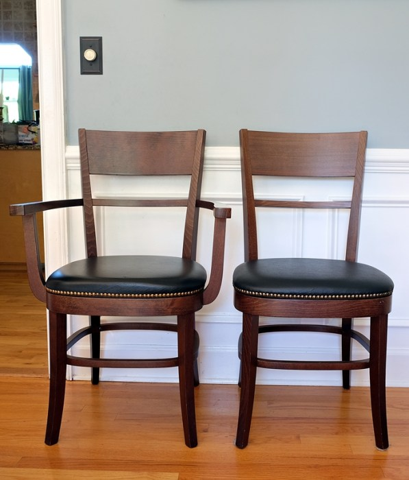 pottery barn dining chairs with leather seats and brass nailhead trim