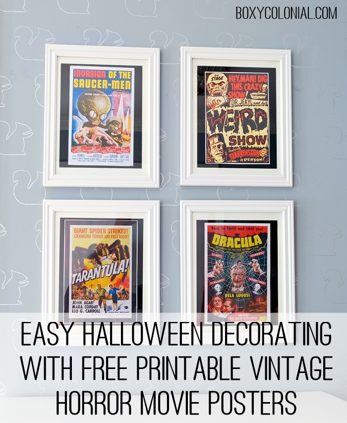 Quirky vintage (and cheap!) Halloween decorating with these free printable vintage horror movie posters