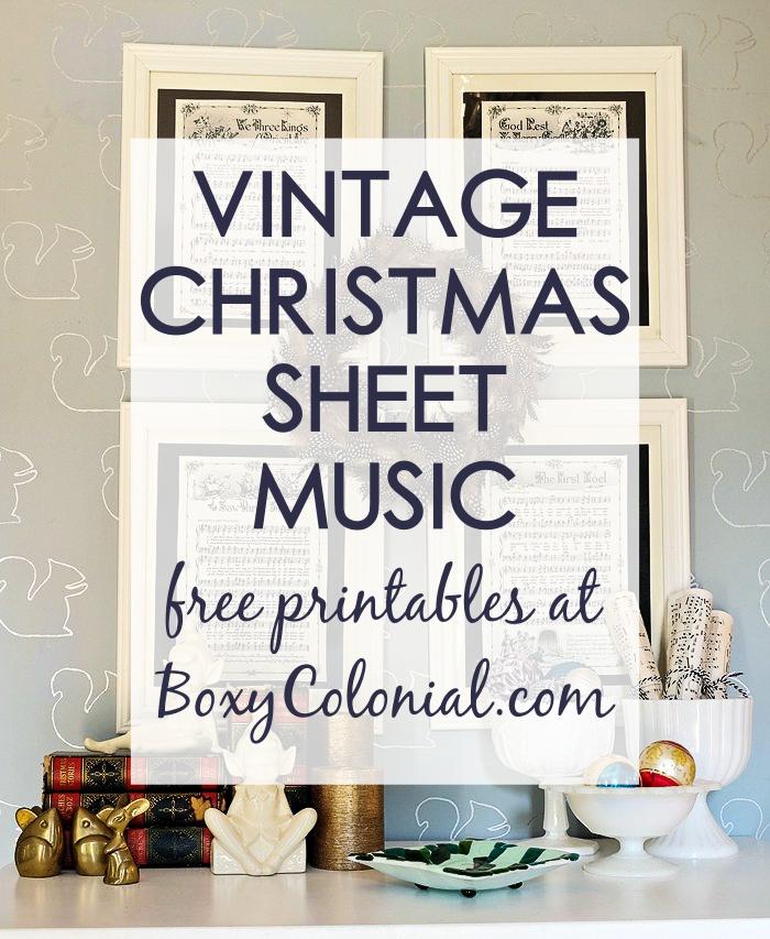 photograph regarding Vintage Sheet Music Printable titled Framed Common Xmas Sheet Songs -