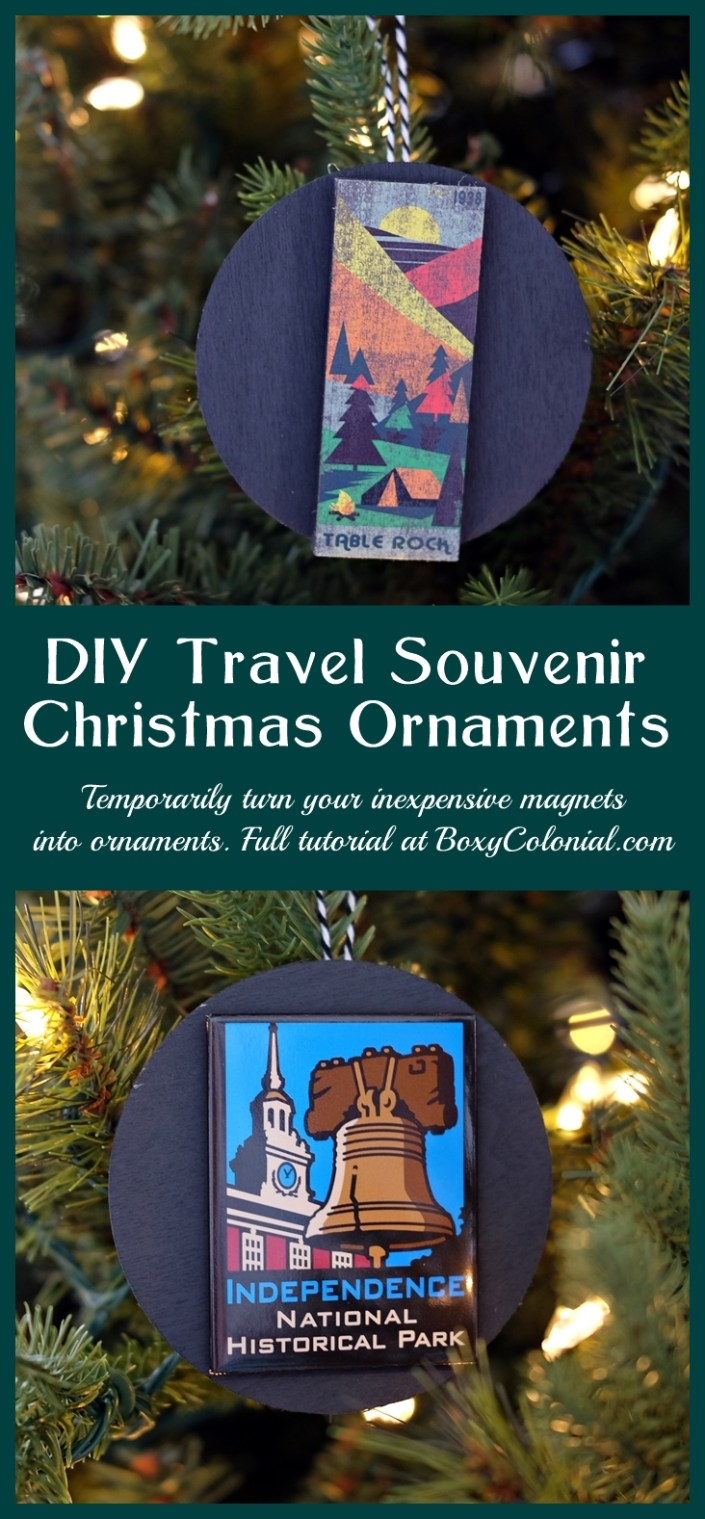 Travel souvenir ornaments without gift shop prices. Turn inexpensive magnets into temporary ornaments. Complete photo tutorial