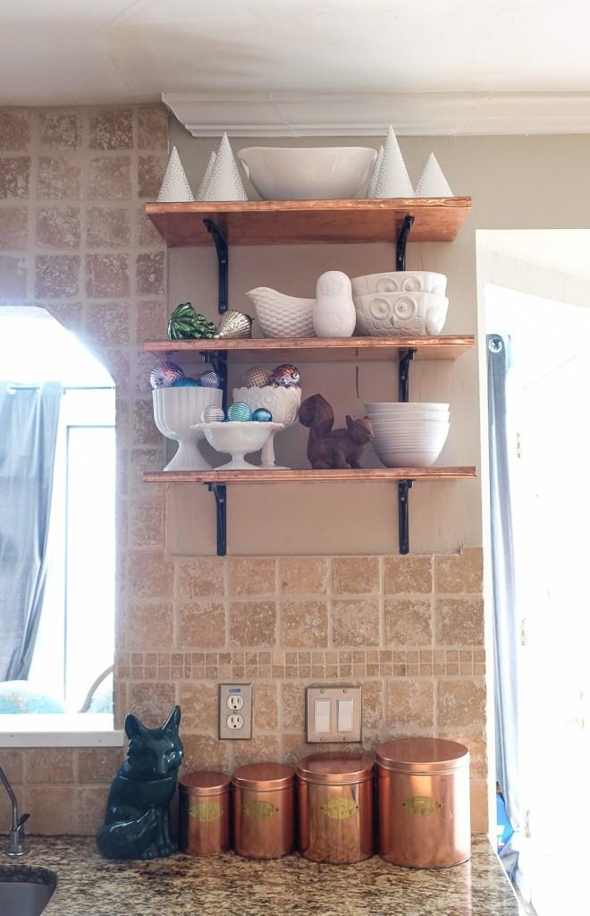 Christmas copper shelves