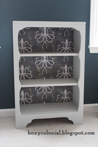 We Used Really Cool Squid Fabric For The Back Of Abes Shelf When First Decorated His Ocean Y Nursery Before He Was Even Born