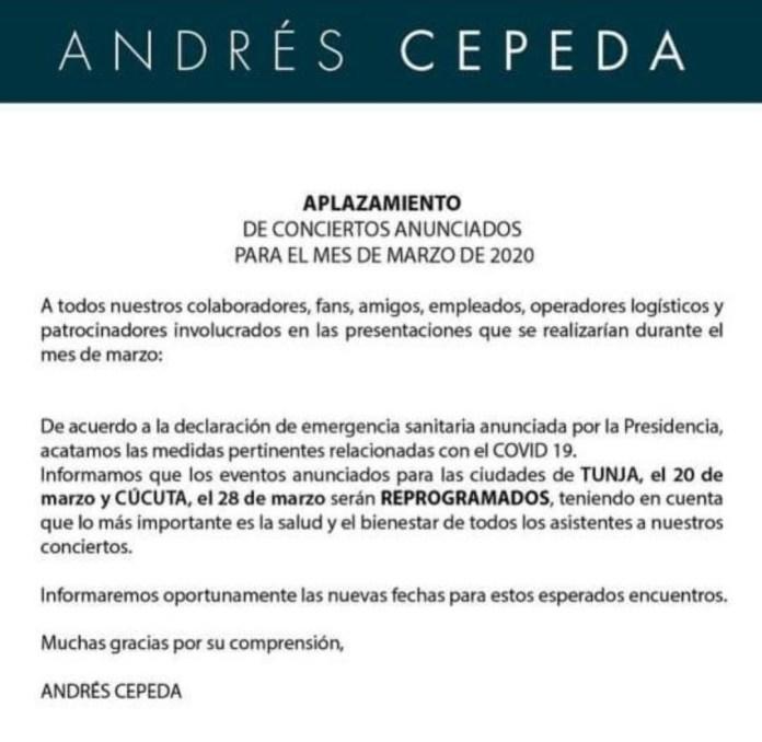 Cancelan eventos masivos en Tunja, entre estos el concierto de Andrés Cepeda. 2