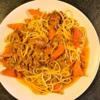 Pork Rib Ragout with Spaghetti