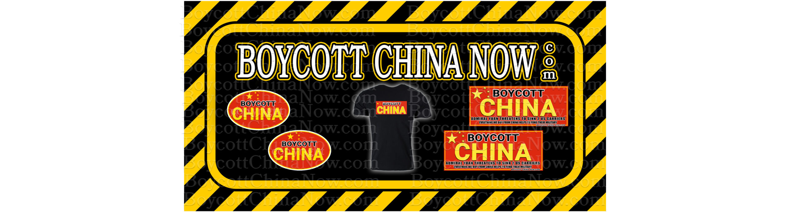 BOYCOTT CHINA Now Stickers and Shirts