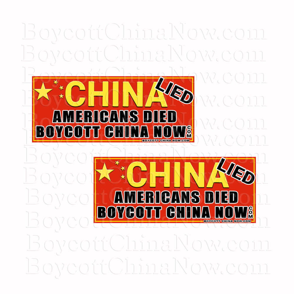 China lied Americans Died Stickers 2 Pack