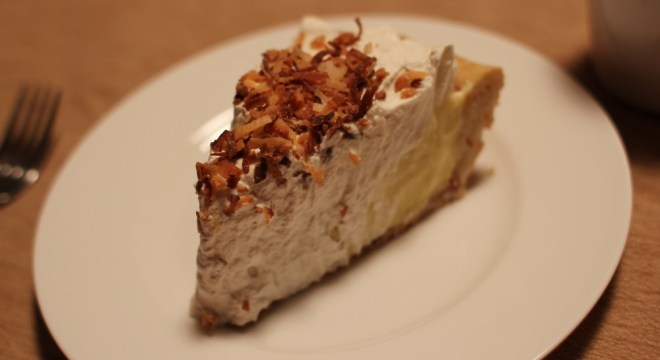 Slice of coconut cream pie.