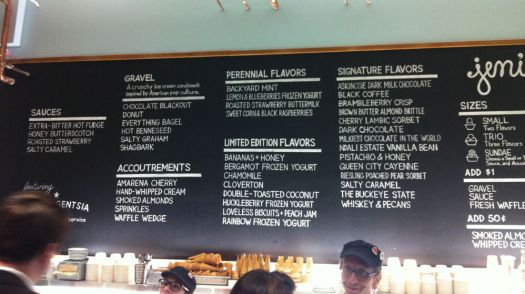 The menu at Jeni's Ice Cream.