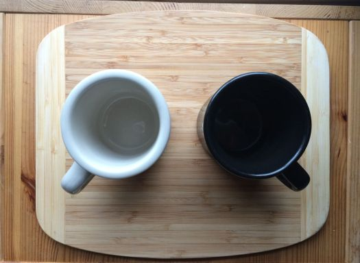 Black and white mugs.