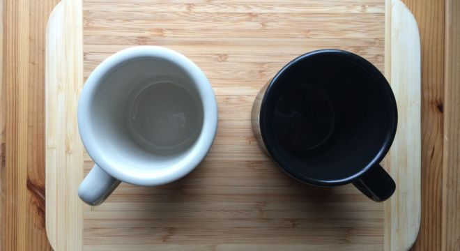 Black and white mugs.