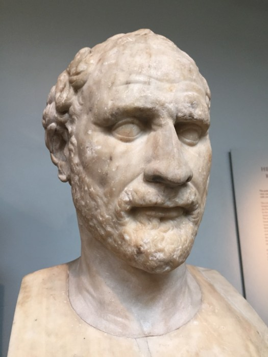 A bust of Demosthenes.