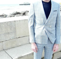 ASOS Skinny Blue Check Suit Double Breast Menswear Mens Fashion Style Suggestions Tips Idea How to wear Boy in breton Blog Blogger Stylist Adidas Tailoring Suiting OOTD Outfit of the day