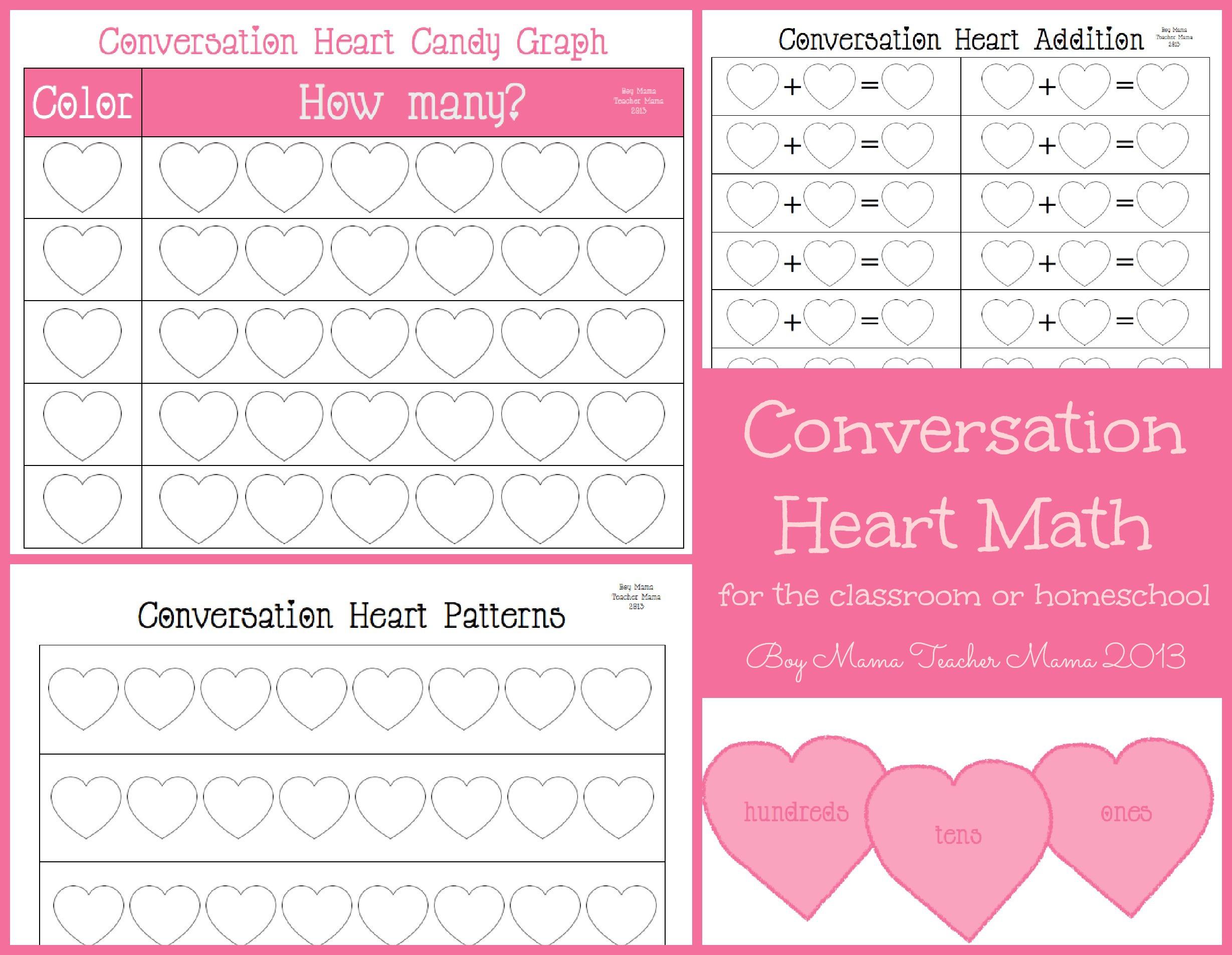 Teacher Mama Conversation Hearts Math For The Classroom