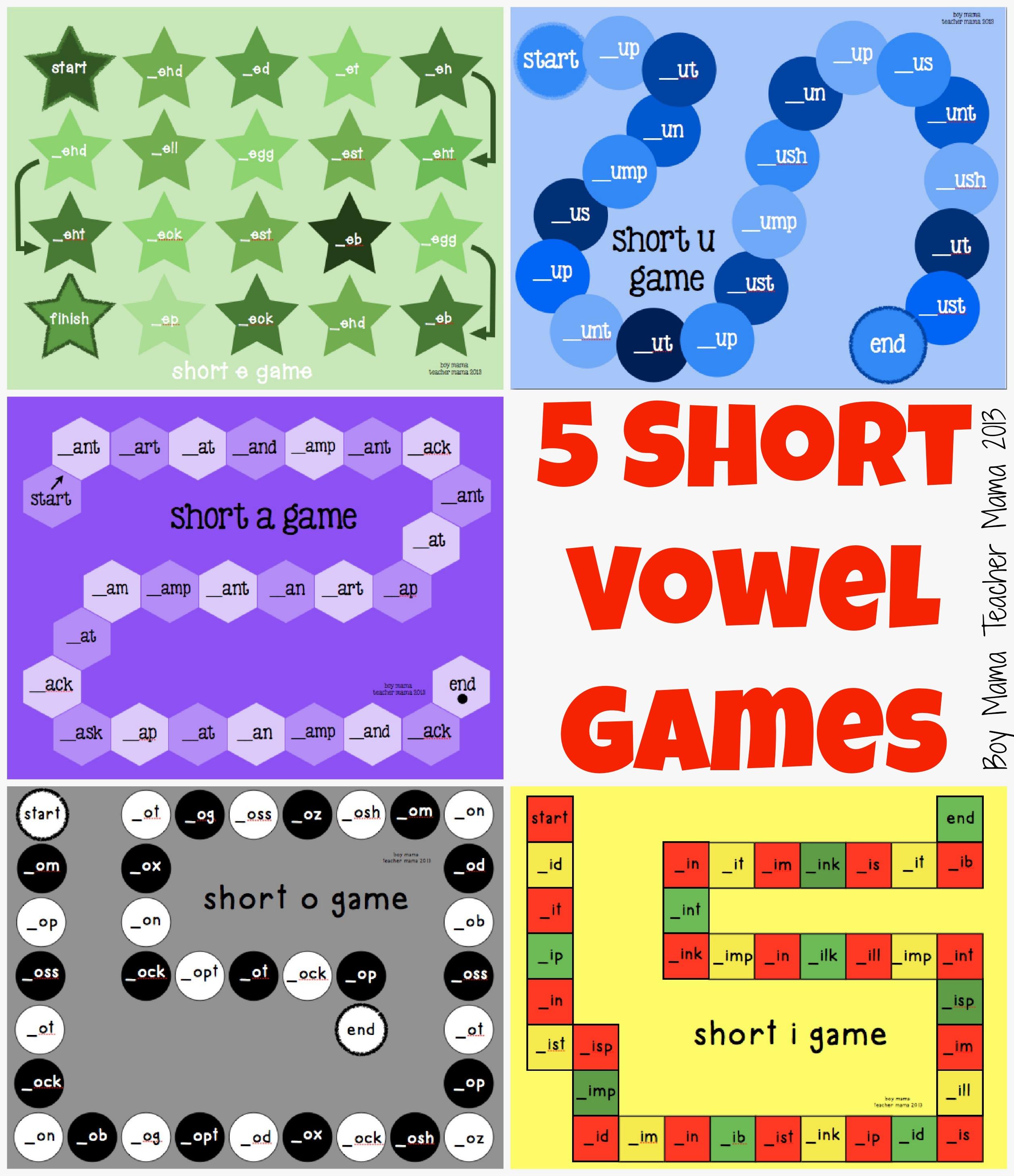 Teacher Mama Five Short Vowel Games