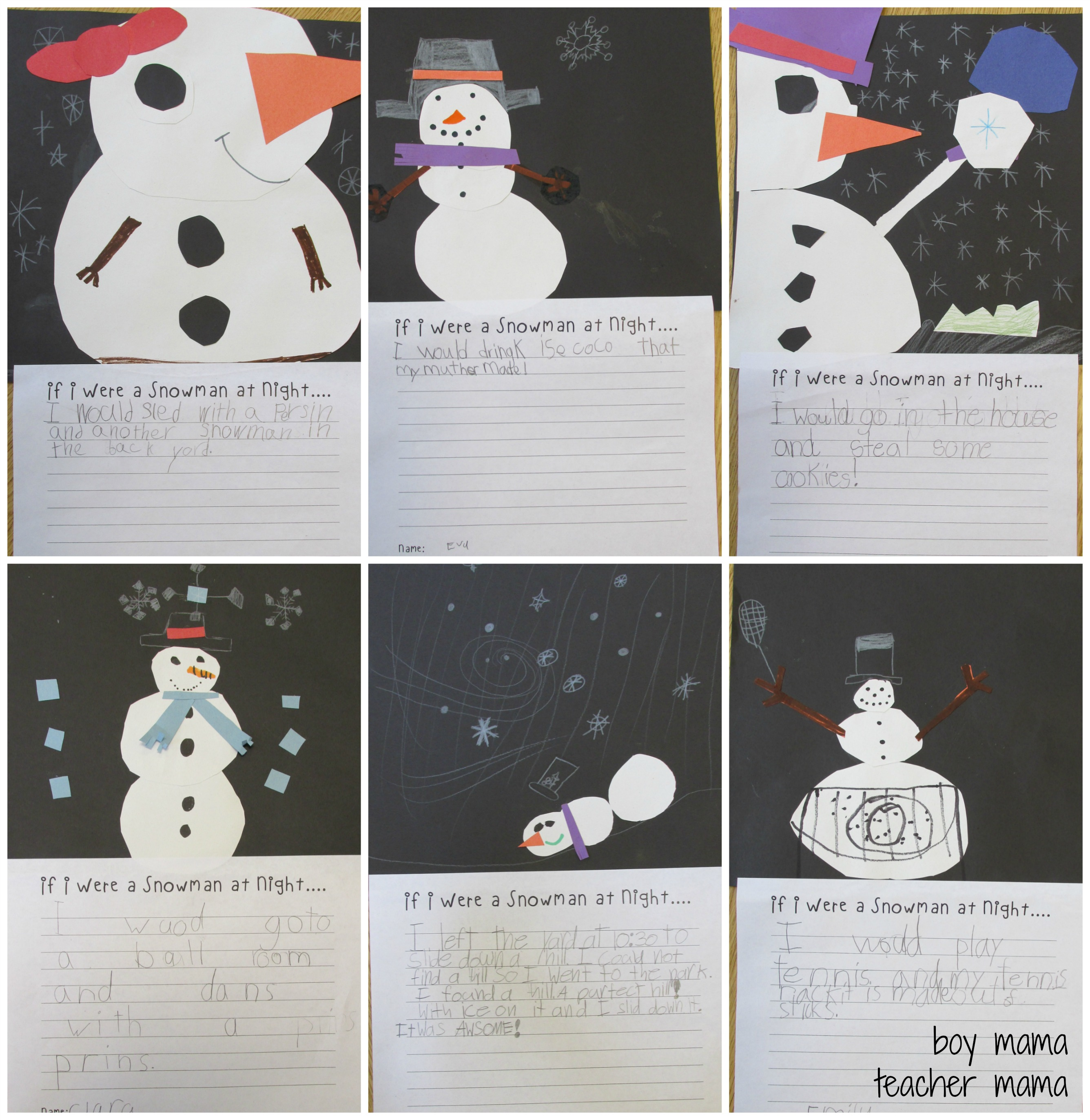 Teacher Mama Snowmen At Night Free Printable After