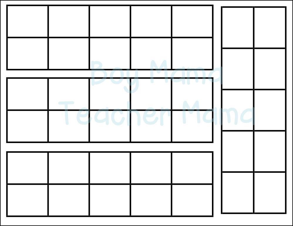 Ten Frame Template. math ten frame 0 10 pre k 2nd grade printables ...