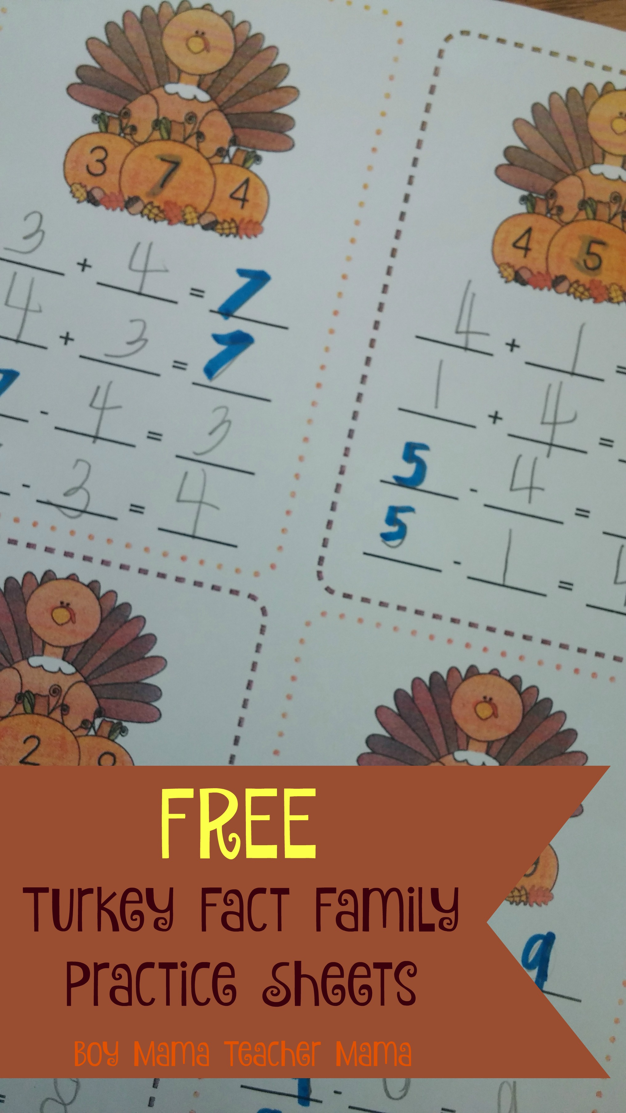 Boy Mama Teacher Mama Free Turkey Fact Family Practice Sheets Featured