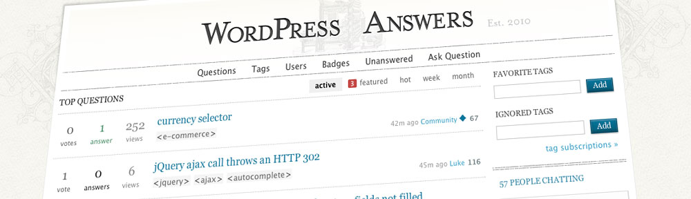 WordPress Answers | http://wordpress.stackexchange.com