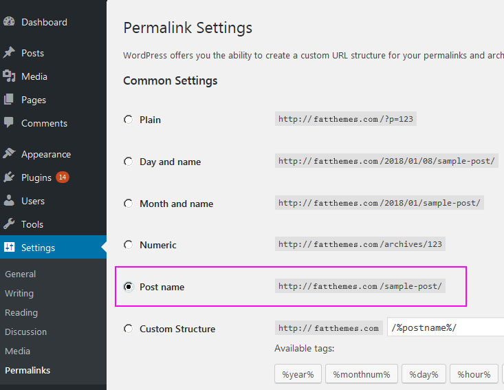 Setting up a blog - permalink settings