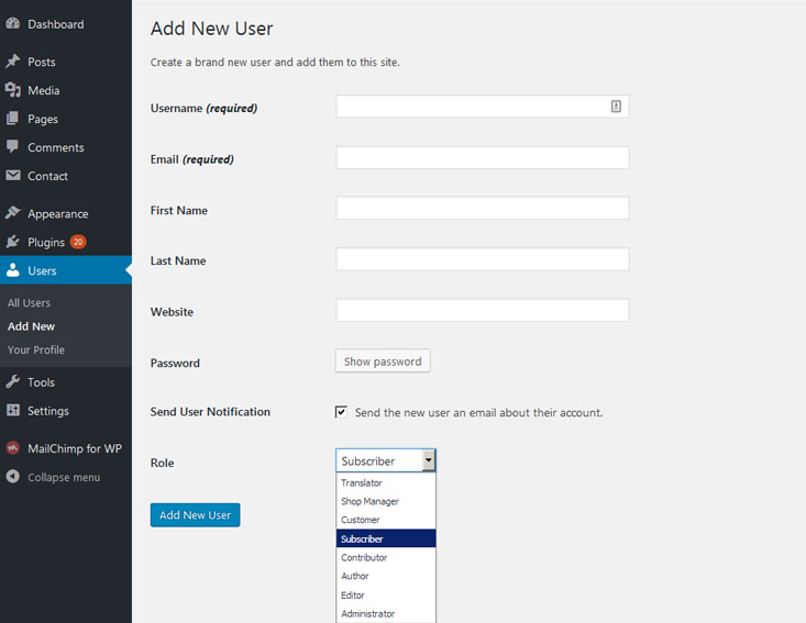 How to add new user in WP theme