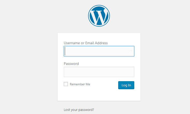 WordPress login panel - log in to your new blog