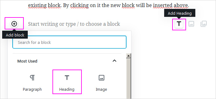 Headings in the new WordPress block editor