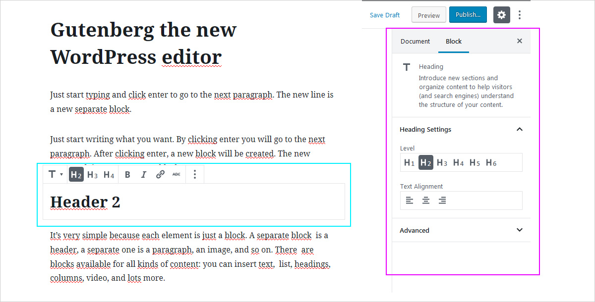 The new WP block editor - Gutenberg settings