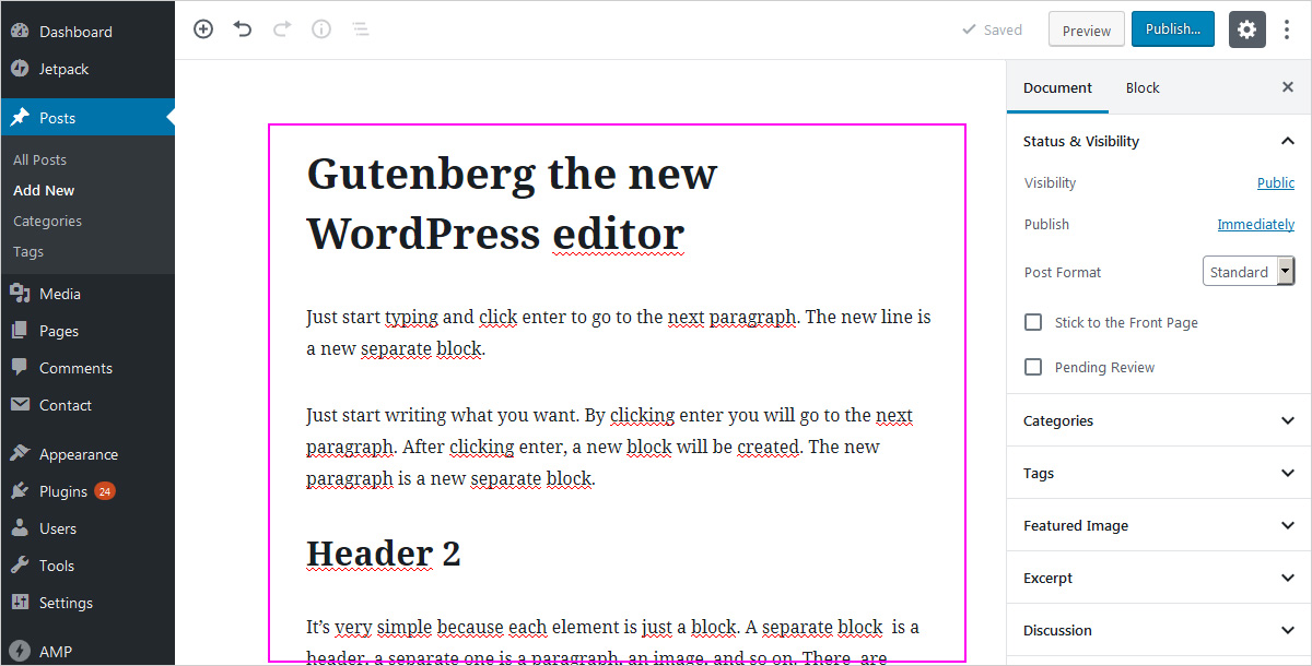 The new WordPress block editor - content area