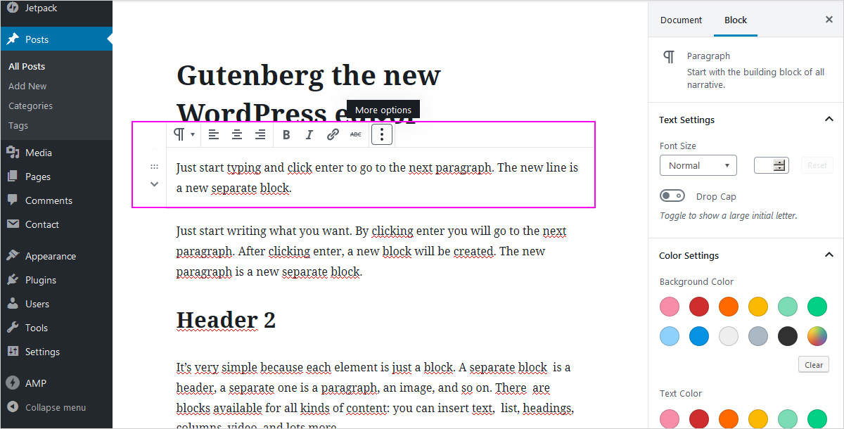 The New WP block editor - paragraph settings